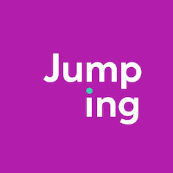 Jumping icon white text on purple background